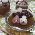 まめゴマ白玉とほうじ茶ゼリー (コンテスト受賞作品)