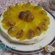 マンゴーとピオーネのレアチーズケーキ