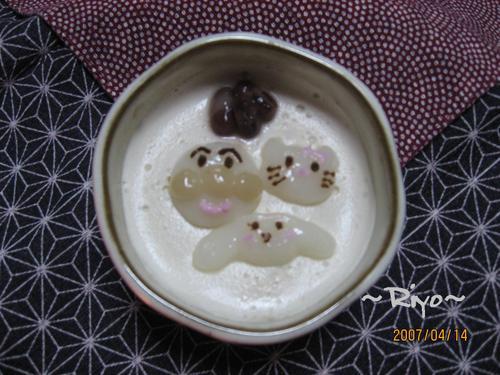 ほうじ茶ぷりん&キャラ白玉