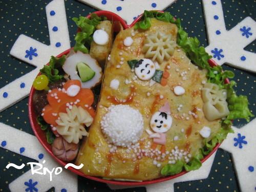 【雪のお弁当】雪の小坊主お絵かき風~プチオフ会~